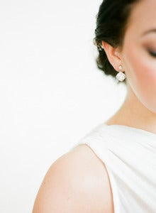 Image of Sparkling Cushion Cut Bridal Earrings by Fine &amp; Fleurie