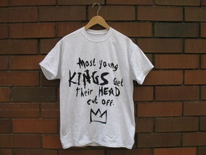 "Image of ""Most Young Kings Get Their Heads Cut Off"" T-Shirt (Ash Grey/Black)"