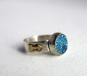 Image of Teal Drusy Ring with Arrows