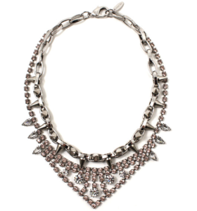 Image of Metal-Luxe Crystal & Spike Necklace - Vintage Rose Crystal/Rhodium/Silver Spikes