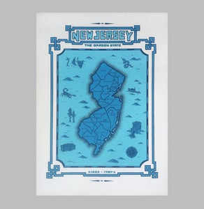 Image of new jersey map -b/w