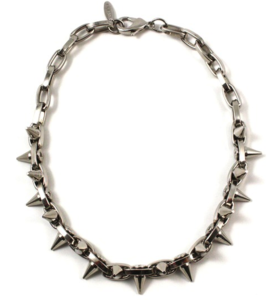 Image of Metal-Luxe Double Row Spike Choker - Rhodium/Silver Spikes