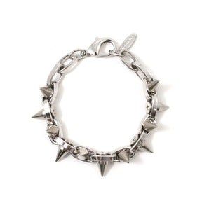 Image of Metal-Luxe Double Row Spike Bracelet - Rhodium/Silver Spikes