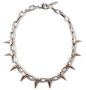 Image of Metal-Luxe Single Row Spike Choker - Rhodium/Rose Gold Spikes