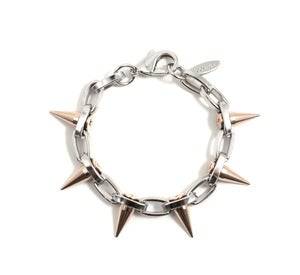 Image of Metal-Luxe Single Row Spike Bracelet - Rhodium/Rose Gold Spikes