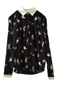 Image of Black Illustrated Bunny Rabbit Printed Blouse