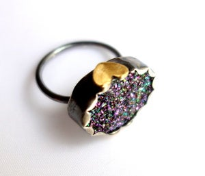 Image of Purple/Green Drusy Ring with Side Hearts