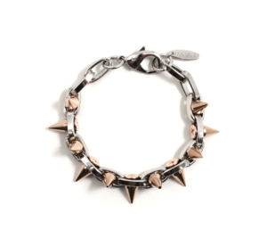 Image of Metal-Luxe Double Row Spike Bracelet - Rhodium/Rose Gold Spikes