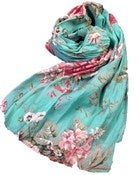 Image of Rose Scarf- Turquoise