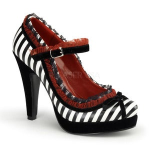 Image of Pin-Up/Demonia Black White Stripe Bettie Heels