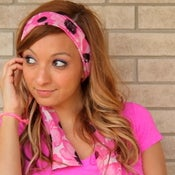 Image of the hair scarves- hot pink floral