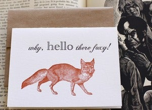 Image of hello foxy greeting card