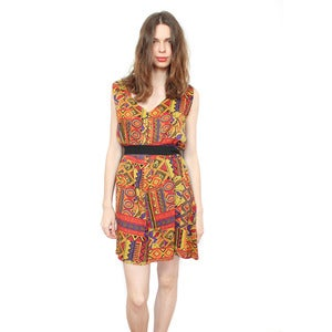 Image of BELTED TRIBAL DRESS