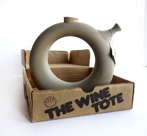 Image of Vintage 1970's Stoneware Donut Wine Tote in Box