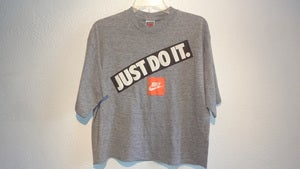 Image of Vintage NIKE Just Do IT Mid Drift TShirt (Grey/Orange Tag) Large