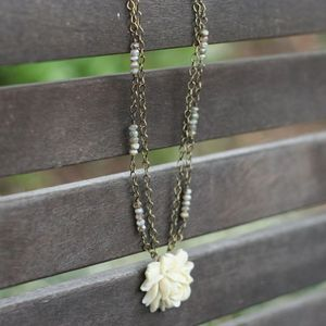 Image of NEW Ivory Ruffled Rose with Creamy Golden Beads, Vintage-style Flower Necklace