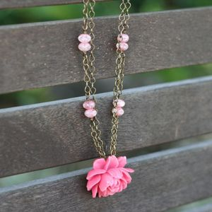 Image of NEW Pink Ruffled Rose & Milky Pink Beads, Vintage-style Antique Flower Necklace