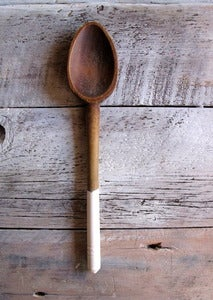 Image of antique painted spoons - salty white