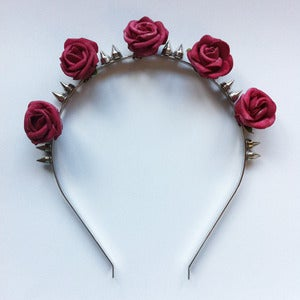 Image of Silver Spike Rose Headband