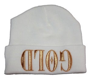 Image of GOLD  White Beanie