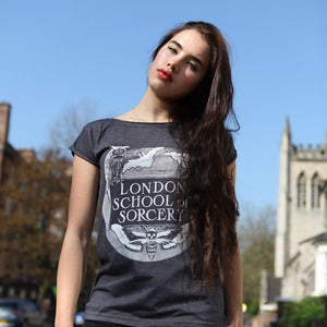 Image of LONDON SORCERY charcoal raw t-shirt