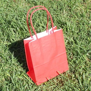 Image of Red Kraft String Handle Loot Bags