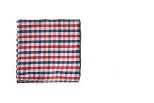 Image of Blue & Red Gingham Pocket Square