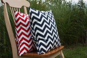 Image of Navy and Red Decorative Pillows Chevron For the Nursery