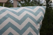 Image of Aqua Blue and Natural Decorative Pillows Chevron For the Nursery