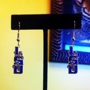 Image of LSU Vertical Tangled Fleur de Tigre Earrings