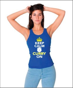 Image of Womens: Keep Calm & CURRY On - Ribbed Tanks (Royal Blue)