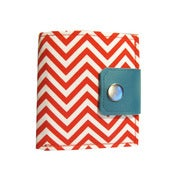 Image of Chevron Red ) Bifold Wallet with Snap + Zipper