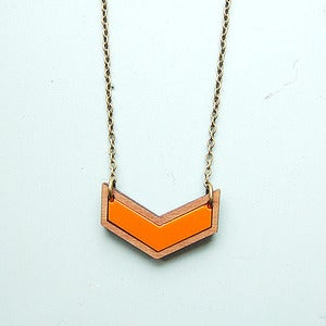 Image of Mini Chevron Necklace in Orange by Nylon Sky 