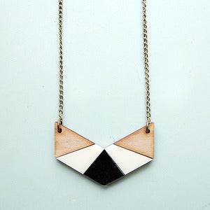 Image of Geo Chevron Necklace in White by Nylon Sky