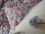 Image of Beatrice In Blue Frilled or Piped Edge Eiderdown