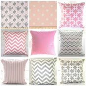 Image of Shades of Pink and Grey Cushion Covers