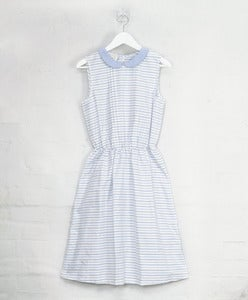 Image of Cleric Collar Dress - Blue Stripe