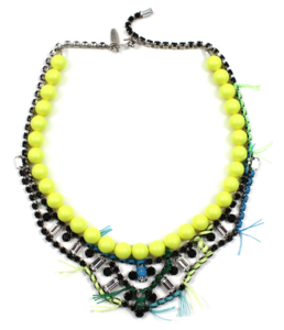 Image of Tribe Festival Crystal & Pearl Necklace w/Thread Details - Neon Yellow