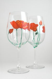 Image of California Poppy Wine Glasses - Set of 2 Hand Painted Orange Poppies Glasses