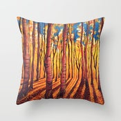 Image of Birch Trees in the Fall Designer Fabric Throw Pillow