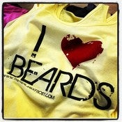 Image of I LOVE BEARDS YELLOW TANK TOP BLACK PRINT RED HEART