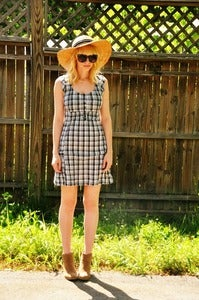 Image of Black Checked Mini Dress