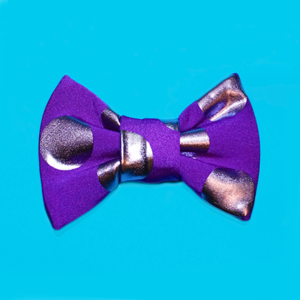 Image of Mini Purple &amp; Silver Dot Hair Bow