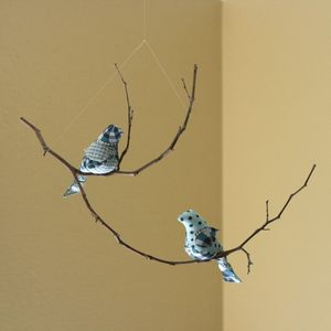 Image of NEW Multi-level Two Bird Mobile in Ocean Blues &amp; Greys (One-of-a-Kind)