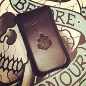 Image of Leather pop fasten Iphone case - Made in Italy