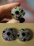 "Image of 7/8"" Silver & Black Rhinestone Plugs!"