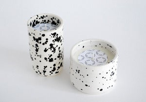 Image of Speckled black & white ceramic soy candle