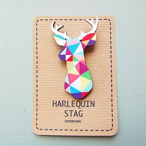 Image of Geometric Multi Colour Stag Brooch by Sketch Inc 