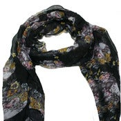 Image of Black floral skull scarf