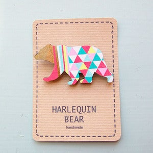Image of Geometric Neon Bear Brooch by Sketch Inc 